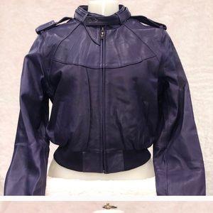 Knoles & Carter XL Leather bomber Jacket purple